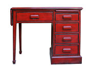 Chinese Distressed Red Writing Desk W Side Flip Up Slide Table And Drawers Cs3118