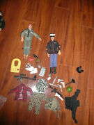 2 Vintage Gi Joe 11 Military Figures With Lots Accessories Officer Fuzzy Head