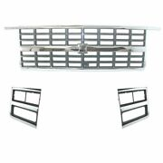 Chrome Grille And Headlight Lamp Bezel Kit 3 Piece For 89-91 Chevy Truck Suv New