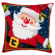 Father Christmas Large Holed Printed Tapestry Canvas Cushion Kit - Cross Stitch