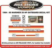 1984 1985 1986 1987 1988 1989 1990 Mariner 50 Hp Outboard Decals Reproductions
