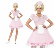 Ladies Diner Girl Costume Womens 50s Fancy Dress Pink Rock N Roll Outfit Uk 4-18