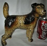 Antique Hubley Usa Cast Iron Fox Terrier Dog Home Statue Door Art 7 Lb Doorstop