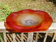 Giant Round Freeform Art Glass Bowl Accent Light Display 25 + Red Orange Silver