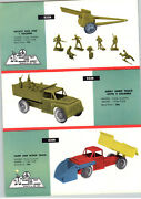 1958 Paper Ad 2 Pg Plastics Toy And Novelty Co Army Truck Soldiers Rocket Gun ++