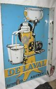 Antique 1920and039s Usa Porcelain Delaval Milk Bottle Country Dairy Cow Tool Art Sign