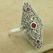 Classic Art Deco 925 Sterling Silver Genuine Ruby Antique Style Ring,   1104