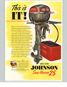 1951 Paper Ad 2 Pg Johnson Sea Horse 25 Hp Outboard Motor Color Poster Like