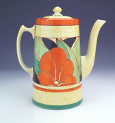 Vintage Clarice Cliff - Newport Pottery - Hand Painted Coffee Pot - Art Deco!
