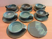 "15pc Mid Century studio pottery cups and saucers Gray & blue signed ""GEORG"""