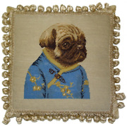 12 X 12 Wool Needlepoint Dog Pug Girl In Blue Ancient Chinese Costume Pillow
