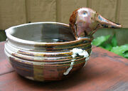 Fun handcrafted pottery batter bowl w duck head handle & pour spout browns Bragg