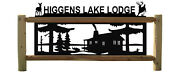 Rustic Log Cabin Outdoor Sign - Pine Trees - Black Silhouettes - Cedar Signs