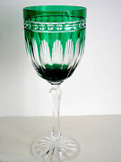 1 Ajka Hungary Clarendon Emerald Cased Cut To Clear Crystal Wine Goblet New