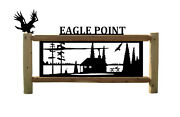Persolaized Cabin Signs - Rustic Log Sign - Bald Eagles