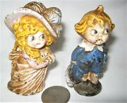 Antique Hubley Pa Usa Victorian Boy And Girl Cast Iron Desk Toy Statue Paperweight