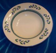 Hartstone Pottery Blueberry Pasta Bowl Wild Blue and Green Band Serving Dish