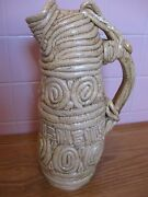 Unique Handcrafted Art Pottery Large Coiled Tubular Jug Pitcher or Vase
