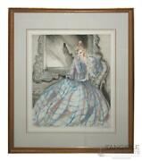 Louis Icart Signed Girl In Crinoline Circa 1937 Etching And Aquatint