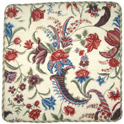 19 X 19 Handmade Wool Needlepoint Tropical Floral Pillow With Cording