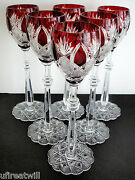 6 Faberge Czar Imperial Ruby Red Cased Cut To Clear 10 5/8 Wine Goblets
