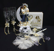 Lasso Cowboy Country Western Lot Wedding Cake Topper Glasses Server Book Pen Top