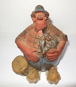 """Sara Meadows Balloon People Crabber 1989 Signed Clay Figurine Sculpture """"Craps"""""""