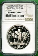 Turks And Caicos Islands 1982 Year Of Child Proof Piefort 10 C Ngc 67 Uc Rare