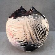 Vtg Studio Art Pottery Signed Raku Vase Pinched Incised w/ Copper Glaze -Estate