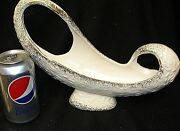 MID-CENTURY CALIFORNIA ABSTRACT ART POTTERY PLANTER VASE SWIRL OPEN HANDLE WHITE
