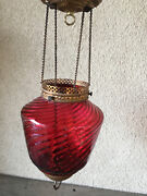 Antique Cranberry Glass Swirl Pull Down Oil Lamp Chains Parlor Hanging 1840and039s