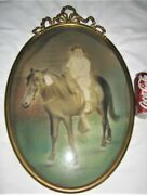 Antique Usa Country Girl Horse Pony Art Glass Photo Picture Print Toy Frame Ny
