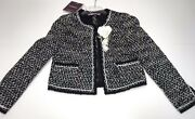 Val And Max New Girls Elegant Tweed Cropped Jacket Lace Trim Sz 10 Rtl 300 P448