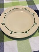 """Roseville Ohio Dinner Plate 10"""" Cream W Classic Teal/green Print A92"""