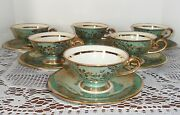 Antique Vtg CRISTAL GERMANY Green Floral & Gold Demitasse Cups Saucers Set of 6