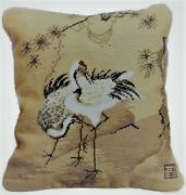 Needlepoint Pillow | Wool Pettipoint Cranes Pine Tree 17x15 Vertical Cushion