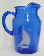 Blue Glass Kool-aid Pitcher With Sailboat