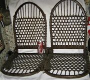 2 Antique Country Primitive Wood Leather Canoe Seat Chair Back Cabin Ski Art Usa