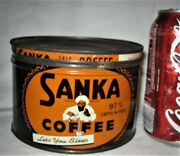 Antique Usa Vintage Ww Ii Country Coffee Shop Sanka Tin Can Kitchen Sign Tea Cup