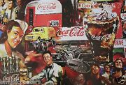 Coca Cola Collage Painting Of Coke Bottles, Old Time Can, Truck And Soda Drinkers
