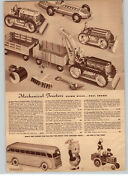 1942 Paper Ad Mechanical Toy Tractor Caterpiller Greyhound Bus Popeye Funny Fire