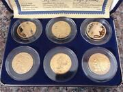 Set Of 6 Coins - Eagle 24 Kt Mint Mark Tribute Proof Collection With Coa