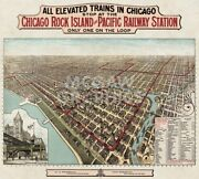 Elevated Trains In Chicago, C. 1897 Art Print Vintage Antique Map Poster 47x52