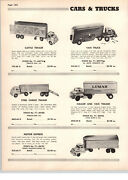 1955 Paper Ad Marx Hubley Structo Toy Trucks Van Lumar Us Army Cities Tow Stake