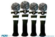 Tour 3 5 7 X Fairway Metal Wood Green White Golf Headcover Knit Pom Pom Cover