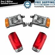 Headlight Lamp Tail Light Front Rear Kit Set Of 4 For 87-90 Ford Truck Suv New
