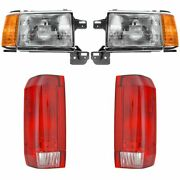 Headlight Lamp Tail Light Front Rear Kit Set Of 4 For 90-91 Ford Truck Suv New