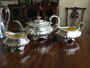 Antique English Sterling Silver Tea Set By Charles Thomas Fox With Family Crest