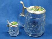 Two Big And Small Matching Antique German Pewter Lid Beer Embossed Glass Mugs Deer