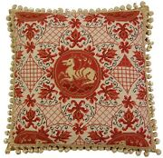 20 X 20 Handmade Wool Needlepoint Ancient Dog Red Pillow With Tassels